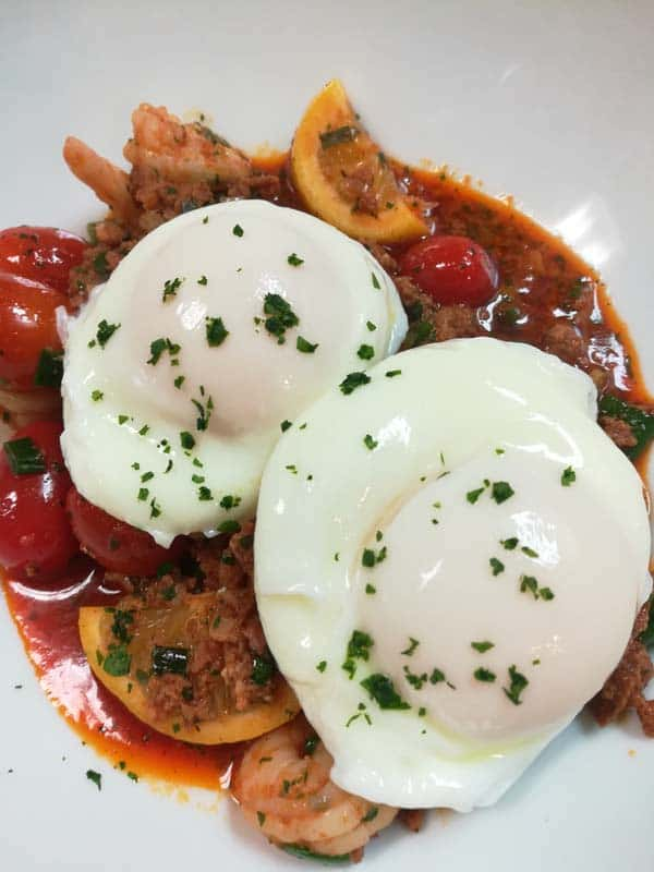 Gambas and Chorizo al ajillo with poached eggs