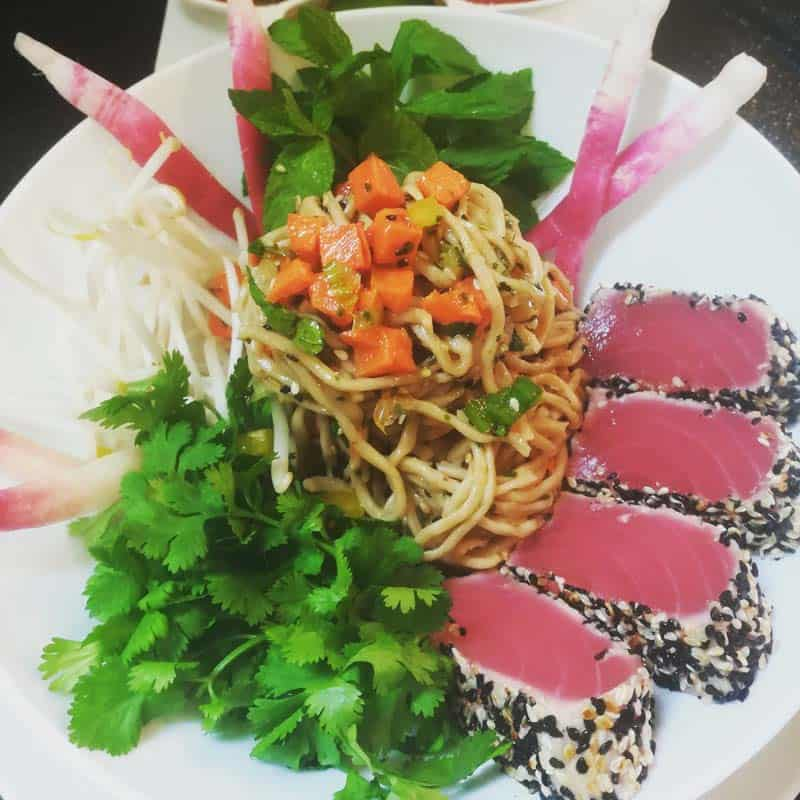 Organic Ramen Noodles Salad with seared Ahi Tuna