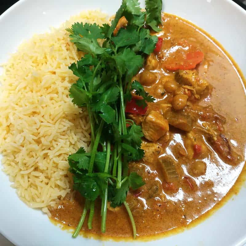 Butter chicken and basmati rice